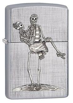 Zippo Custom Lighter: Day of the Dead Skeleton Couple - Linen Weave 78561