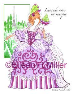 Muñeca de papel de corte francés de Marie Antoinette