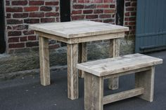 Tisch incl.Bank aus recyceltem,altem Bauholz  von Linnards via dawanda.com