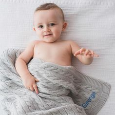 The ultimate in luxury, this personalised Cable Knit Blanket in glacier grey really wows. Keep your baby wrapped in softness and warmth from birth to home. Made from 100% cotton, it is not only sublimely soft, warm and fully breathable, but is also practical as it can be machine washed. This versatile blanket can travel with your baby everywhere from the car seat, pram, moses basket to the cot. It is the best gift for comfort and snuggle time, they will love the security these blankets give. Personalized Baby Blankets, Personalized Baby Gifts, Cable Knit Blankets, Moses Basket, Baby Wraps, Prams, Baby Essentials, New Moms, Mom And Dad
