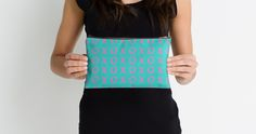 xo xo Neon Pink on Teal Blue Studio Zipper Pouches #xoxo #makeupbags