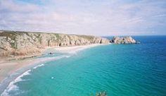 The idyllic beach at Porthcurno
