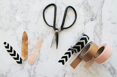 Vous vous demandez que faire avec du masking tape ? 20 d'idées pour l'utiliser dans la déco de vos fêtes, mariages : vases et centres de table, bougies ...
