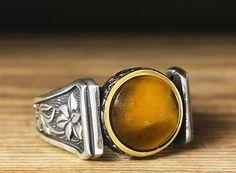 925 K Sterling Silver Man Ring Brown TigerEye 12,5 US Size $36.90