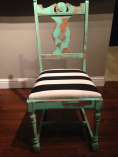 Distressed Mint Green Chair with a Black and White by refinedDUST
