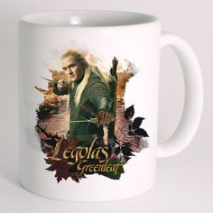 This mug features LEGOLAS GREENLEAF&trade; from the film <i>The Hobbit: The Desolation of Smaug.</i> The white ceramic mug holds 11 ounces of your favorite hot or cold beverage and is microwave and dishwasher safe. Bilbo Baggins, Thorin Oakenshield, Desolation Of Smaug, An Elf, Legolas, Orlando Bloom, Will Turner, Best Series, Funny Halloween Costumes