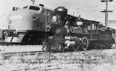 """Southern Pacific Railroad, Union Pacific Railroad, and Chicago and NorthWestern Railway train ""City of San Francisco"" EMC E2 diesel locomotive No SF1 posed with Virginia and Truckee Railroad steam locomotive No. 21 ""J. W. Bowker,""..."