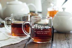 Engraved Glass Coffee Mug wedding favors $1.79