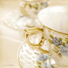 Vintage china with blue details.