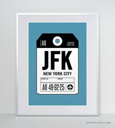 Your place to buy and sell all things handmade Custom Tags, Custom Luggage Tags, Airport Luggage, New York City Ny, Travel Memories, Jfk, Tag Art, Travel Posters, Clip Art