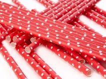 25 Papier Strohhalme rot weiß Dots Vintage - #hochzeitsdeko