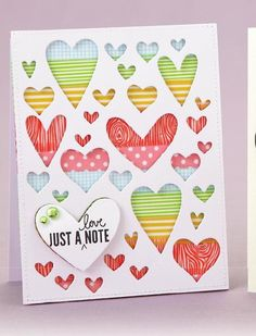 """""""Moxie Fab World: Handmade Cards Week: The Stickers & Tape Challenge: Clever use of Washi Tape.a panel behind the heart cutouts cover with washi"""" Paper Cards, Diy Cards, Card Making Inspiration, Making Ideas, Scrapbook Cards, Scrapbooking, Paper Crafts Magazine, Washi Tape Cards, Masking Tape"""