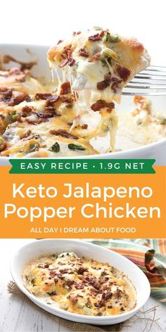 Jalapeno Popper Chicken is an easy keto meal that whips up in about 35 minutes. Creamy and delicious, and the whole family loves it!