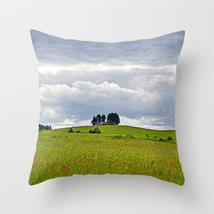 Hello earth Throw Pillow by Pirmin Nohr - $20.00 Dramatic sky above a green landscape   summer, nature,clouds, green, meadow, flowers, trees