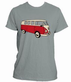 Campaña en crowdence 'Volkswagen Van T-shirt': Camiseta gris con dibujo de furgoneta Volkswagen California roja.
