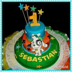 "Torta / cake decorado con fondant ""Doki"""