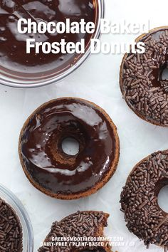 Healthy chocolate baked frosted donuts that are vegan, gluten-free and dairy-free and are topped with a luscious 2-ingredient chocolate frosting, made from just chocolate chips and dairy-free milk Healthy Holiday Recipes, Healthy Desserts, Chocolate Frosting, Chocolate Chips, Hidden Vegetable Recipes, Mini Cupcake Pan, Frost Donuts, Fudge Pops, Frosting Tips