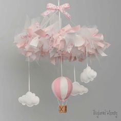 Hot Air Balloon Mobile Baby Mobile Custom Baby by TayloredWhimsy Felt Crafts, Diy And Crafts, Crafts For Kids, Baby Couture, Baby Room Decor, Baby Cribs, Air Balloon, Baby Shower Parties, Baby Gifts
