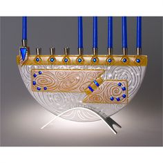 Beames Designs Menorah Nova Amber JM51, Artistic Artisan Designer Judaica