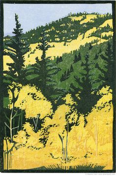 Over the Pass (Marshall Pass in southern Chaffee County, Colorado). Reduction linocut, edition of 12, hand printed on Hosho paper | Sherrie York Printmaker