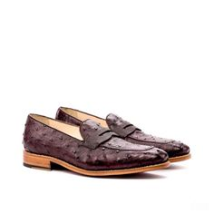 Custom Made Goodyear Welted Loafers in Burgundy Genuine Ostrich with Dark Brown Pebble Grain Leather and Box Calf 3 Goodyear Shoes, Goodyear Welt, Custom Made Shoes, Custom Design Shoes, Old Shoes, Men's Shoes, Shoes Men, Dress Shoes, Loafer Shoes