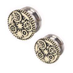Steampunk Gears Stainless Steel Ear Plugs Screw Fit Ear Gauges 5mm-16mm wholesales piercing ear flesh tunnel lot