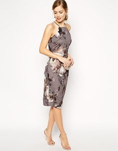 ASOS Grey Floral Drape Back Midi Dress - perfect for a fall wedding!