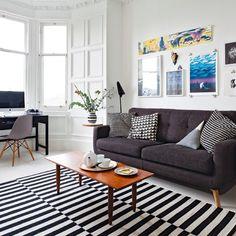 Weiße und schwarze Wohnzimmer