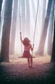 Girl In Swing by Carlos Caetano Swing Photography, 2 Girl, Dark Forest, Brunette Girl, America, Fine Art, Feelings, Gallery, Prints