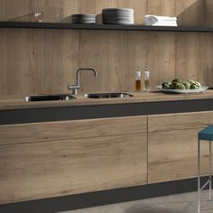 Home Decoration Online Stores Kitchen Room Design, Modern Kitchen Design, Kitchen Interior, Interior Design Colleges, Interior Design Programs, Concrete Kitchen, Wooden Kitchen, Wood Cabinets, Kitchen Cabinets