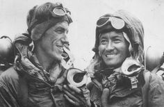 Sir Edmund Hillary and sherpa Tenzing Norgay after their historic ascent of Mount Everest on May 29, 1953.