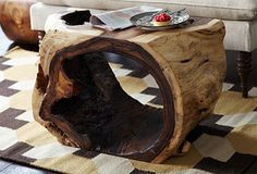 Reclaimed Wood Dining Table Made From Natural Hollow Tree