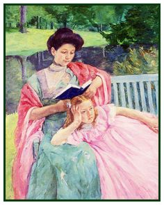 Augusta Reading to her Daughter by American impressionist artist Mary Cassatt Counted Cross Stitch or Counted Needlepoint Pattern