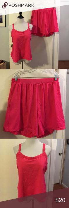 Jessica London hot pink swim suit never worn NWOT Bottom features elastic waist shorts. Hygiene sticker still intact. Top features lightly padded bra. Adjustable shoulder straps jessica london Swim