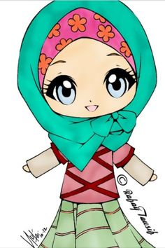 Muslim Girls Anime Muslimah Hijab Cartoon Islam Doodle Girl Clipart Art Clip