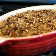 A delicious mashed sweet potato casserole with a crunchy pecan topping. Easy to make-ahead, this recipe bakes in only 30 minutes.