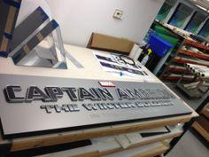 This sign was made by KDF Reprographics out of Precision Board HDU for the new Captain America movie and will be displayed in Times Square. More info at: http://precisionboard.com/kdf/captain-america/.