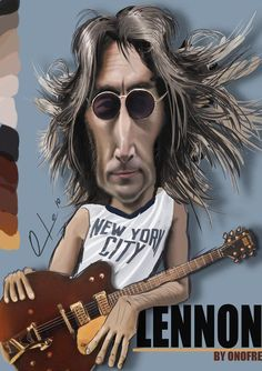 John Lennon (BEATLES) in a New York City shirt as a (caricature)…. For more great pins go to Les Beatles, Beatles Art, John Lennon Beatles, Caricature Artist, Caricature Drawing, Funny Caricatures, Celebrity Caricatures, Cartoon Faces, Funny Faces
