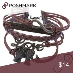 """Where There's A Will"" Elephant Bracelet Brown Rope and Braided Leather ""Where There's A Will, There's A Way"" Elephant Bracelet. (Portion of every sale of Elephant Spirit products is donated to help save the elephants). Elephant Spirit Jewelry Bracelets"