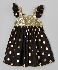 Look what I found on #zulily! Just Couture Black & Gold Sequin Angel-Sleeve Dress - Infant, Toddler & Girls by Just Couture #zulilyfinds