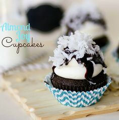 Almond Joy Cupcakes - these chocolate, almond and coconut cupcakes are perfect for Spring.  The creamy almond frosting is AMAZING!!