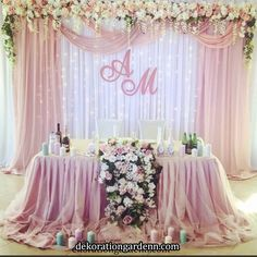 Put gold instead of silver in back ground « Mutter ADS Wedding Draping, Wedding Reception Backdrop, Wedding Table, Wedding Hall Decorations, Quinceanera Decorations, Wedding Centerpieces, Dusty Rose Wedding, Purple Wedding, Bride Groom Table