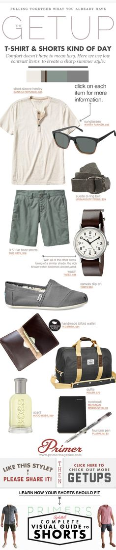 Comfort doesn't have to mean lazy. Here we use low contrast items  to create a sharp summer style.
