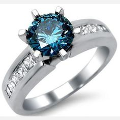 White Gold Plated 925 Sterling Silver Blue Round Diamond Engagement Ring