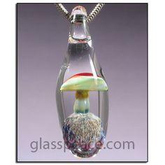 Sale blue glass mushroom pendant boro lampwork jewlery by glass glass mushroom bead boro lampwork pendant by glasspeace aloadofball Images