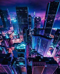 Hong Kong by Neon Wallpaper, Screen Wallpaper, New York Cityscape, Pretty Backgrounds, Neon Aesthetic, City Scene, Night City, Urban Photography, Neon Lighting