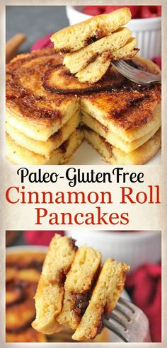 Paleo Cinnamon Roll Pancakes- gluten free, dairy free, and so delicious! Easy to make and the perfect breakfast.