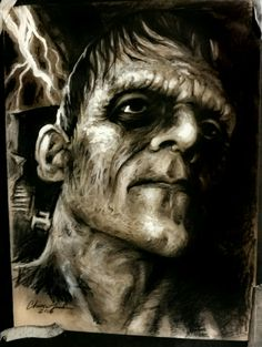 Frankenstein's Monster. Conte crayon, graphite and charcoal on toned paper. By Christopher Nash