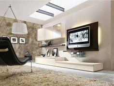 Modernes Wohnzimmer einrichten hellbraune Töne LED Fernseher weiße Wände