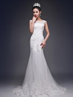 Mermaid Trumpet Bateau Neck Court Train Tulle Custom Wedding Dresses With Beading Liques Under 100